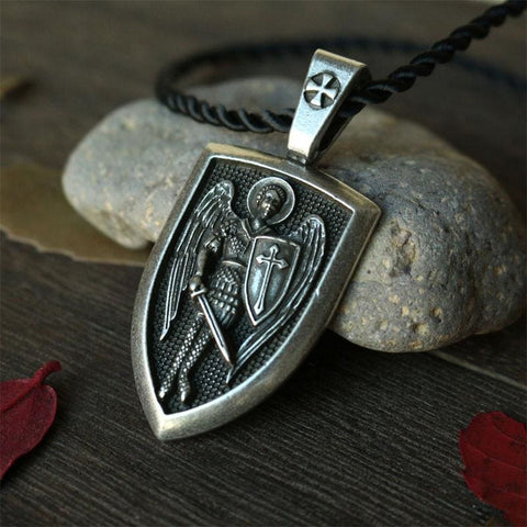 Archangel St. Michael Shield Protection Pendant - Pendant Necklaces Jewelry Knights Necklace