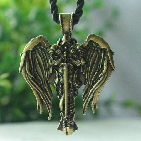 Archangel Talisman Pendant - Antique Bronze Plated - Pendant Necklace Jewelry Knights