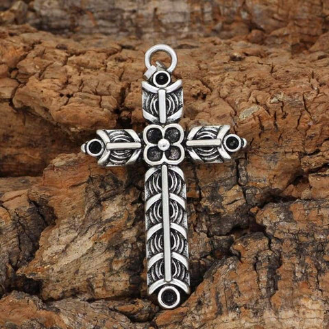 Image of Athelstans Cross Ragnar Amulet Necklace - Double Side - Necklace Cross Medieval Vikings