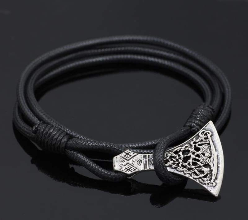 Axe Head Real Leather Bracelet - Bracelet Vikings