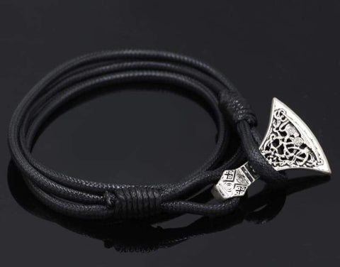 Image of Axe Head Real Leather Bracelet - Bracelet Vikings
