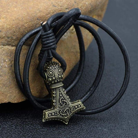 Bronze Mjolnir Real Leather Bracelet - Bracelet Vikings