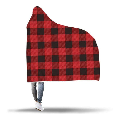 Image of Canadian Plaid Hooded Blanket - Hooded Blanket Blankets Hooded Blankets
