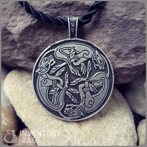 Image of Circular Dogs Intertwined Necklace Pendant - Viking Necklace Jewelry Necklace Vikings