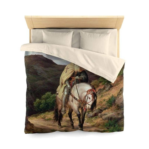 Image of Crusader Returning Home Microfiber Duvet Cover - Queen / Cream - Home Decor All Over Print Blankets Home & Living Queen Twin