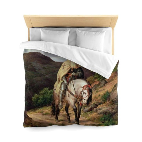 Image of Crusader Returning Home Microfiber Duvet Cover - Queen / White - Home Decor All Over Print Blankets Home & Living Queen Twin