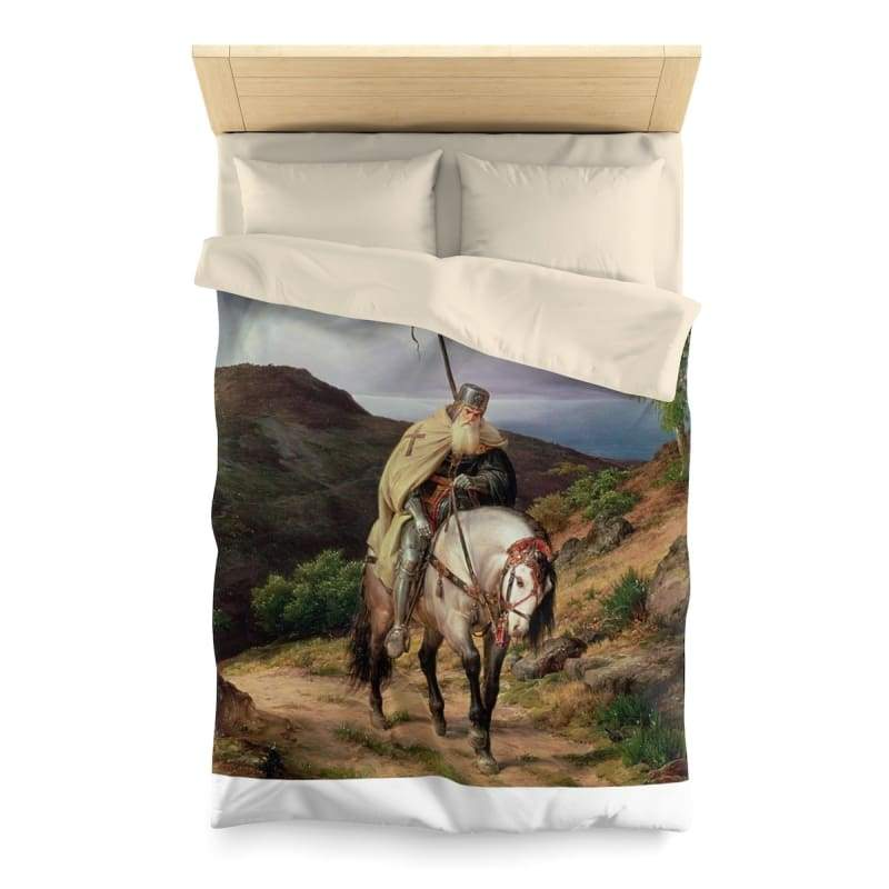 Crusader Returning Home Microfiber Duvet Cover - Twin / Cream - Home Decor All Over Print Blankets Home & Living Queen Twin