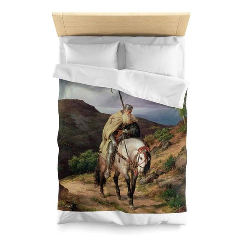 Image of Crusader Returning Home Microfiber Duvet Cover - Twin / White - Home Decor All Over Print Blankets Home & Living Queen Twin