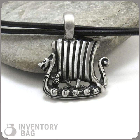Image of Dragon-Ship Pendant - Viking Necklace Jewelry Necklace Vikings