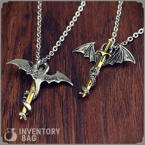 Image of Dragon Sword Necklace - Viking Necklace Fantasy Jewelry Vikings