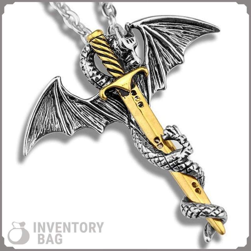 Dragon Sword Necklace - Gold - Viking Necklace Fantasy Jewelry Vikings
