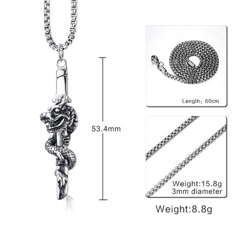 Dragon Sword Vintage - Pendant Necklaces Jewelry Necklace Samurai