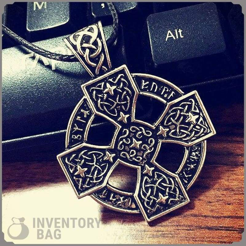 Elder Futhark Sunwheel Solar Cross - Viking Necklace Jewelry Necklace Vikings