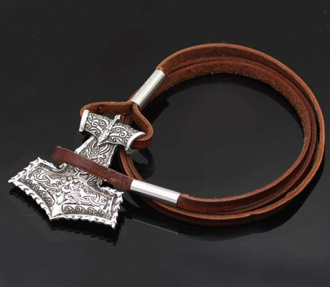 Hammer Brown Real Leather Bracelet - Bracelet Vikings
