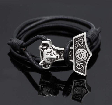 Hammer Valknut Leather Bracelet - Bracelet Vikings