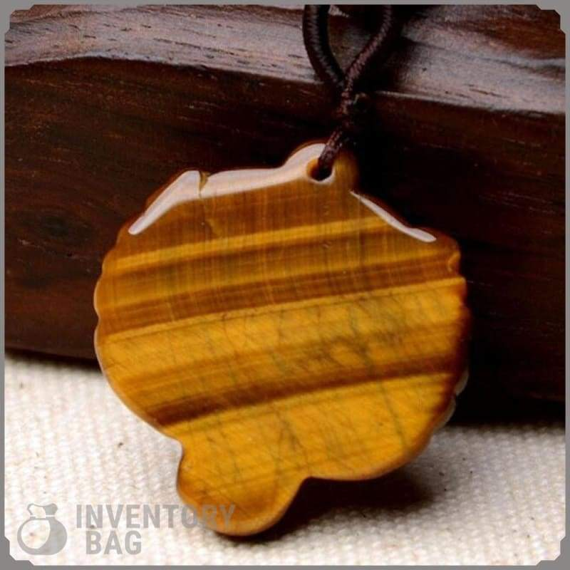 Hand Made Natural Tiger Eye Stone Pendant - Jewelry Necklace Samurai