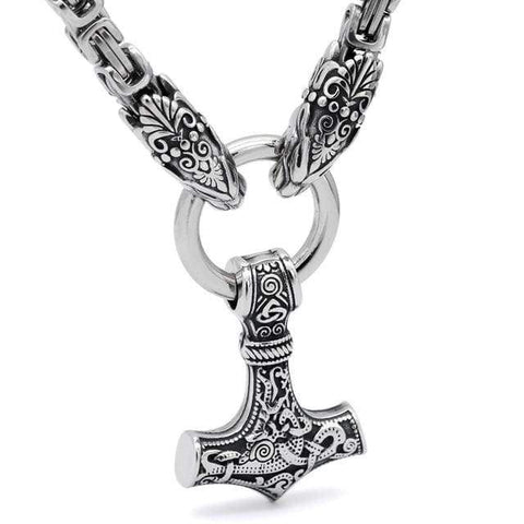 Image of Handmade Stainless Steel Kings Chain Viking Geri And Freki Mjolnir Necklace - Design 2 / 70Cm - Vikings