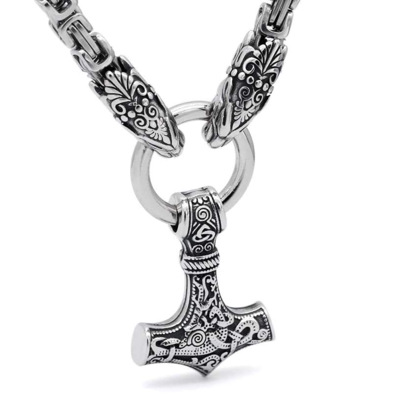 Handmade Stainless Steel Kings Chain Viking Geri And Freki Mjolnir Necklace - Vikings