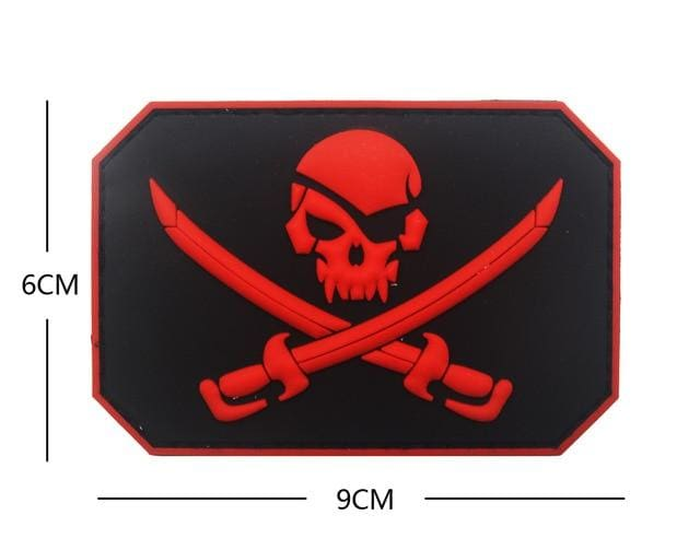 Jolly Roger Flag Pvc Patches - Red - Patches Patches Pvc