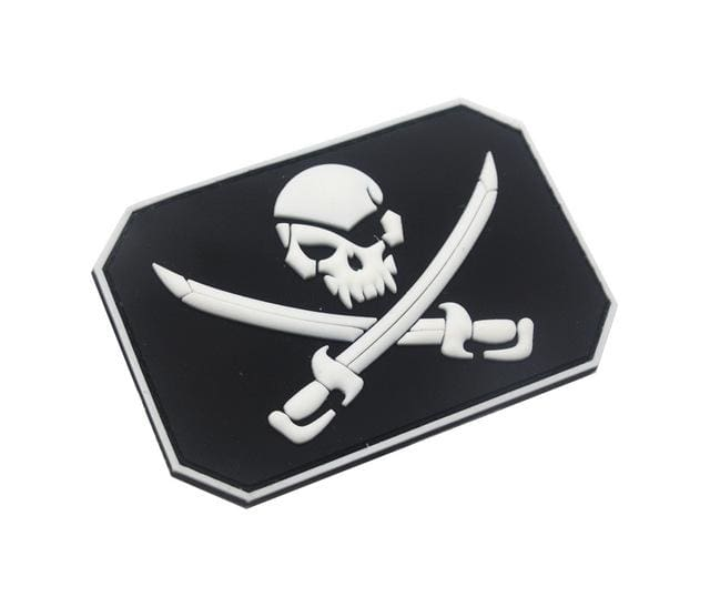 Jolly Roger Flag Pvc Patches - White - Patches Patches Pvc