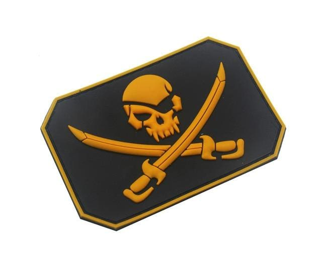 Jolly Roger Flag Pvc Patches - Yellow - Patches Patches Pvc