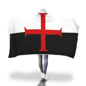 Knights Templar Hooded Blanket - Hooded Blanket Blankets Hooded Blankets