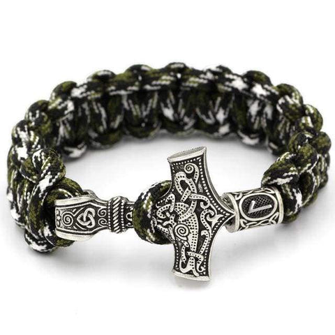 Mjolnir Camouflage Paracord Optional Runes Bracelet - Gold-Color - Bracelet Vikings