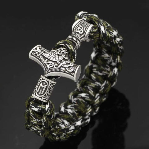 Image of Mjolnir Camouflage Paracord Optional Runes Bracelet - Bracelet Vikings