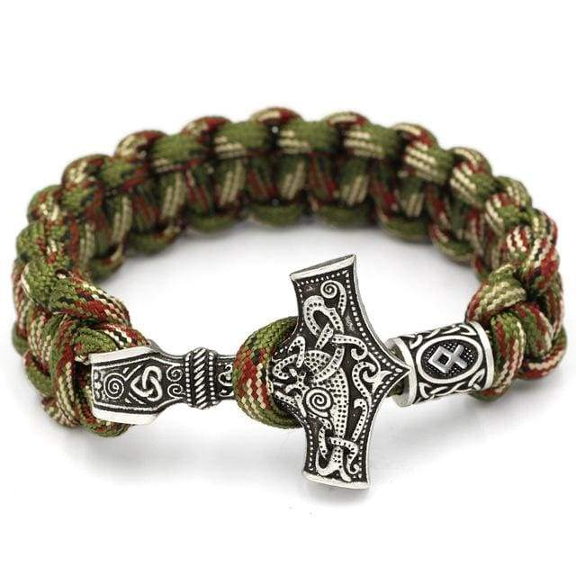 Mjolnir Camouflage Rune Paracord - Antique Bronze Plated - Bracelet Vikings