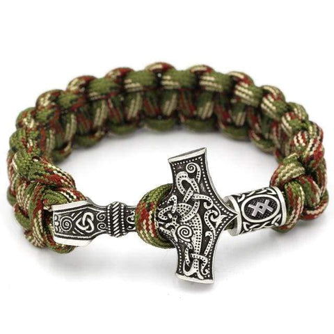 Image of Mjolnir Camouflage Rune Paracord - Antique Silver Plated - Bracelet Vikings