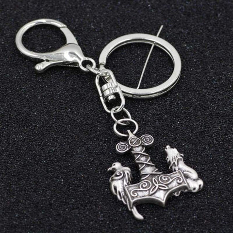 Image of Mjolnir The Wolf And Raven Keychain - Keychain Vikings