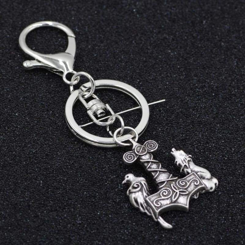 Mjolnir The Wolf And Raven Keychain - Keychain Vikings