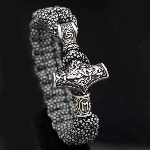 Mjolnir White/black Paracord - Antique Bronze Plated - Bracelet Vikings