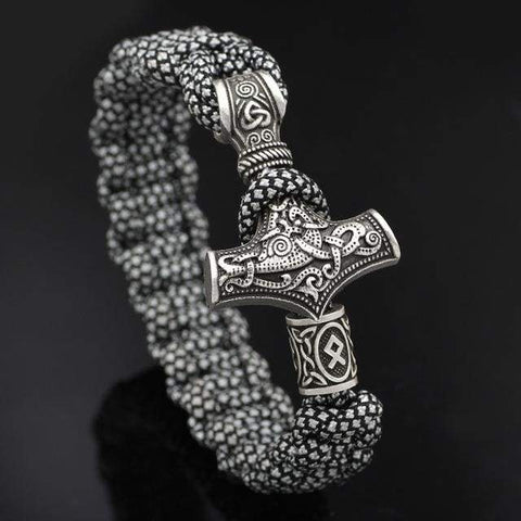 Mjolnir White/black Paracord - Imitation Rhodium Plated - Bracelet Vikings