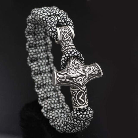 Mjolnir White/black Paracord - Rhodium Plated - Bracelet Vikings
