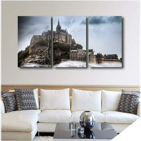 Image of Mont-Saint-Michel - 3-Panel / 36 X 16 - Wallarts Canvas