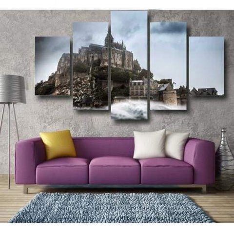 Image of Mont-Saint-Michel - 5-Panel / 60 X 36 - Wallarts Canvas