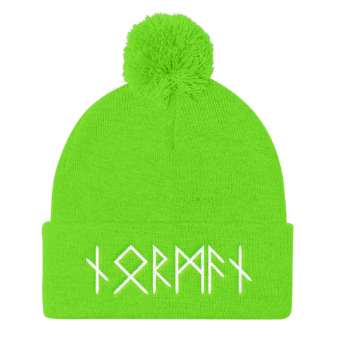 Image of Norman Runes Pom Pom Knit Cap - Neon Green - Apparel Beanie Beanies