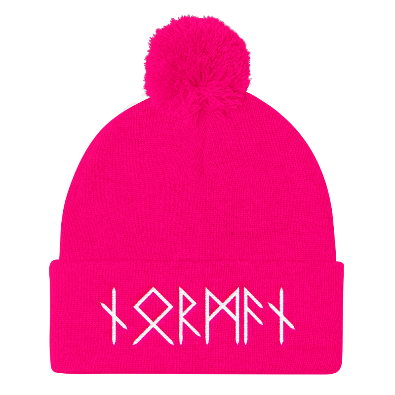 Norman Runes Pom Pom Knit Cap - Neon Pink - Apparel Beanie Beanies