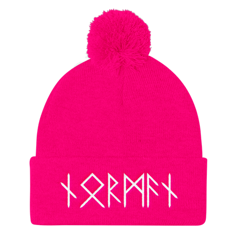 Image of Norman Runes Pom Pom Knit Cap - Neon Pink - Apparel Beanie Beanies