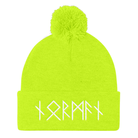 Image of Norman Runes Pom Pom Knit Cap - Neon Yellow - Apparel Beanie Beanies