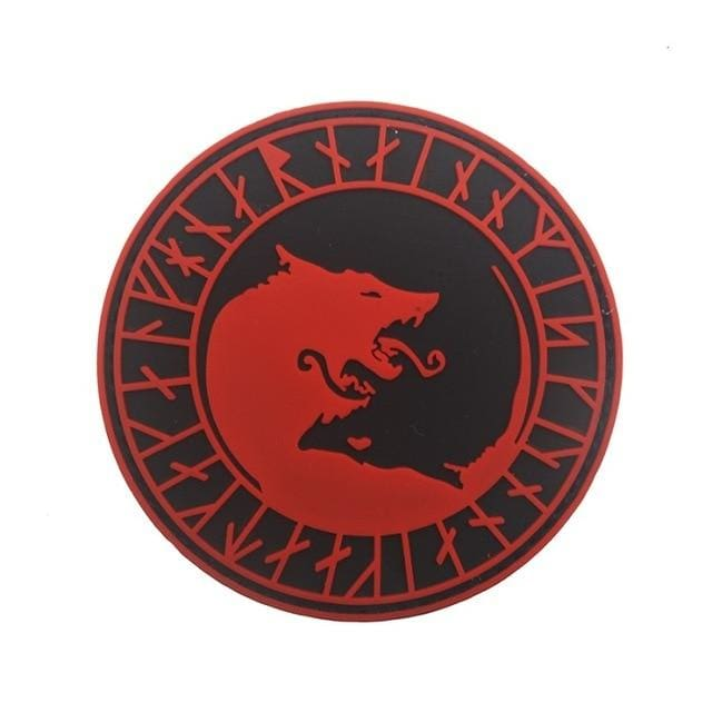 Norse Fenrir Pvc Patches - Red Not Glow - Patches Patches Pvc