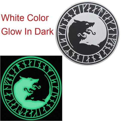 Norse Fenrir Pvc Patches - White Glow In Dark - Patches Patches Pvc