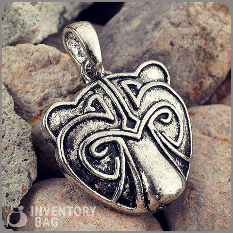 Norse Silver Bear Head Viking Necklace - Viking Necklace Jewelry Necklace Spirit Bear Company Vikings