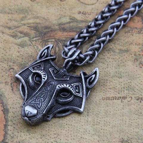 Norse Wolf Head - Black Zinc Plated - Pendant Necklaces Jewelry Necklace Vikings