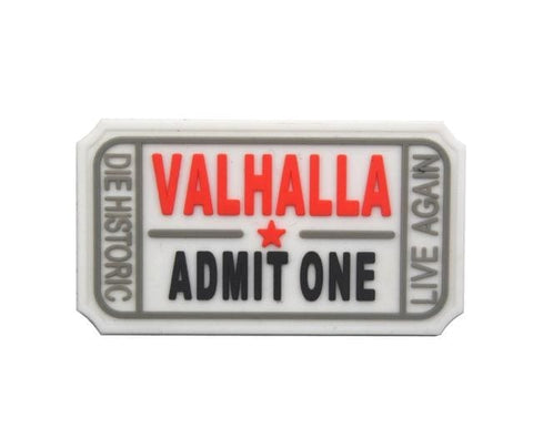 Image of Pvc Ticket To Valhalla Tactical Vikings Patch - White - Patches Patches Vikings