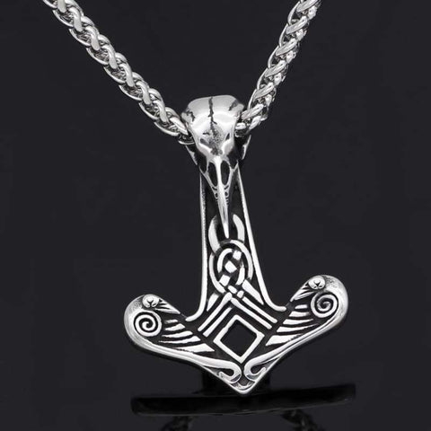 Image of Raven Skull Mjolnir Necklace - Viking Necklace Jewelry Necklace Vikings