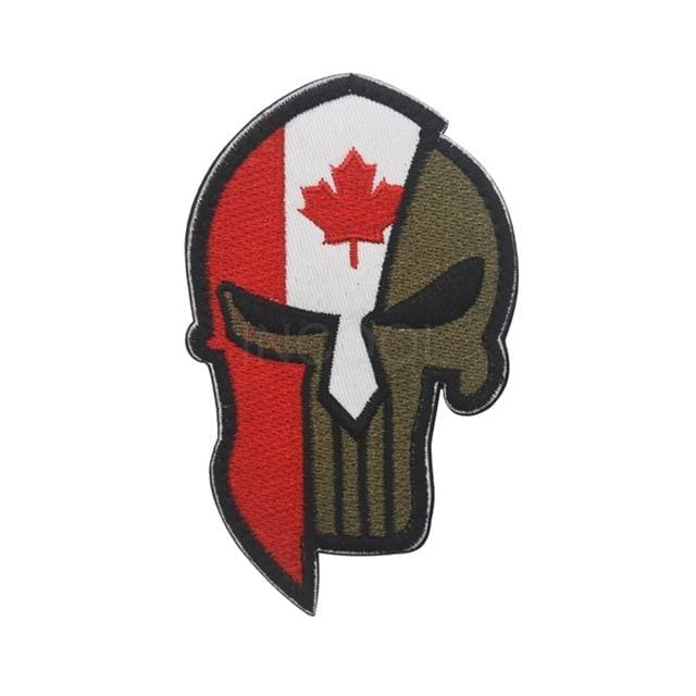Skull Spartan National Flag Tactical Patches - Canada - Patches Patches