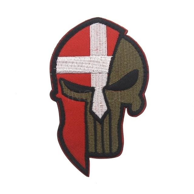 Skull Spartan National Flag Tactical Patches - Denmark - Patches Patches