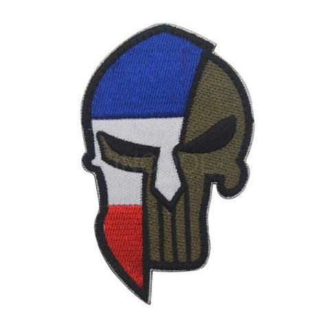 Image of Skull Spartan National Flag Tactical Patches - France - Patches Patches
